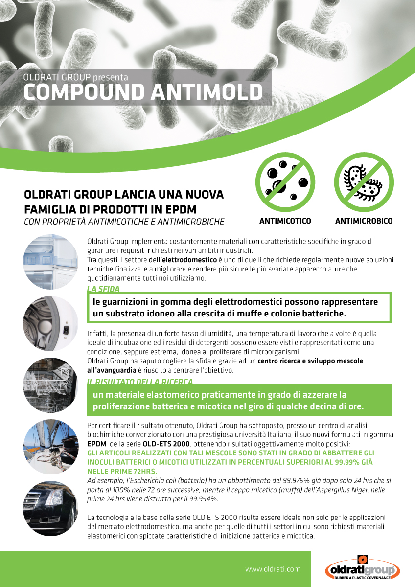 OLDRATI GROUP LAUNCHES A NEW FAMILY OF PRODUCTS IN EPDM WITH ANTIMYCOTIC AND ANTIMICROBIAL PROPERTIES